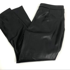 Zara Basic Faux Black Leather Trousers Large